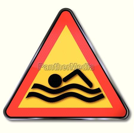 schild schwimmer im fuss