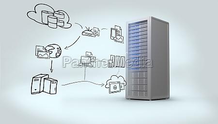 composite bild von cloud computing doodle