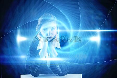 composite bild von redhead geschaeftsfrau suchen