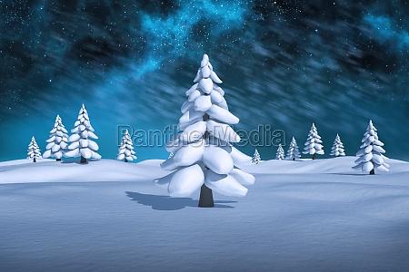 immagine composita di bianco paesaggio innevato