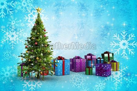 composite bild von weihnachtsbaum und geschenke