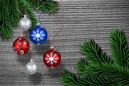 zusammengesetztes bild digital haengende christbaumkugel dekoration