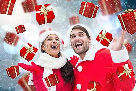sammensat billede af festligt ungt par
