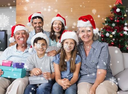 zusammengesetztes bild der grossfamilie in den