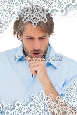 composite bild von gegerbt mann mit