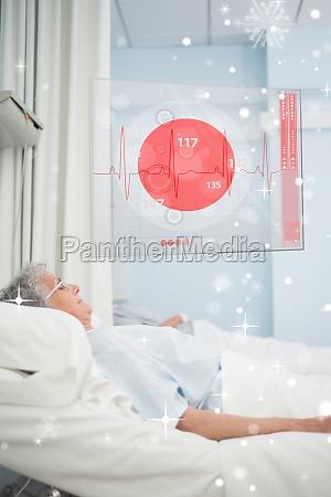 patient liegt im krankenhaus mit futuristischem