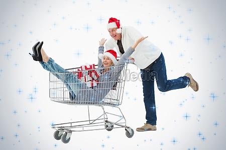 festlig modne par i vintertoj med