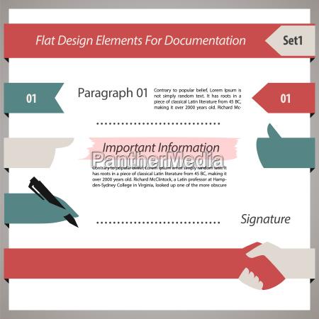 flache design elemente fuer dokumentation set1