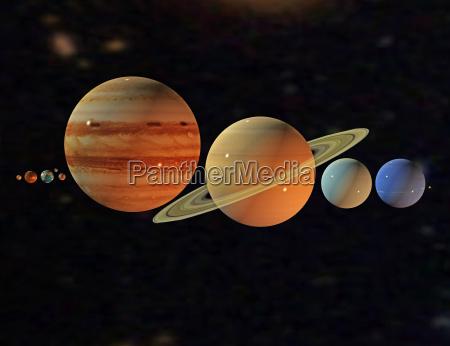 planeten des sonnensystems im all