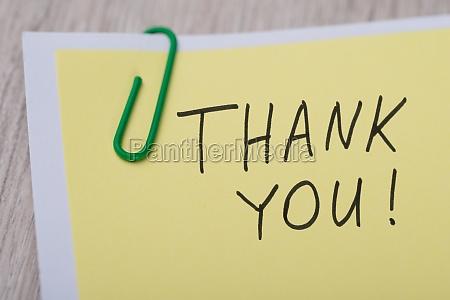 thank you written on yellow