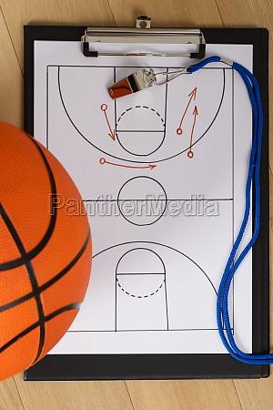 pfeife und basketball tactics auf papier