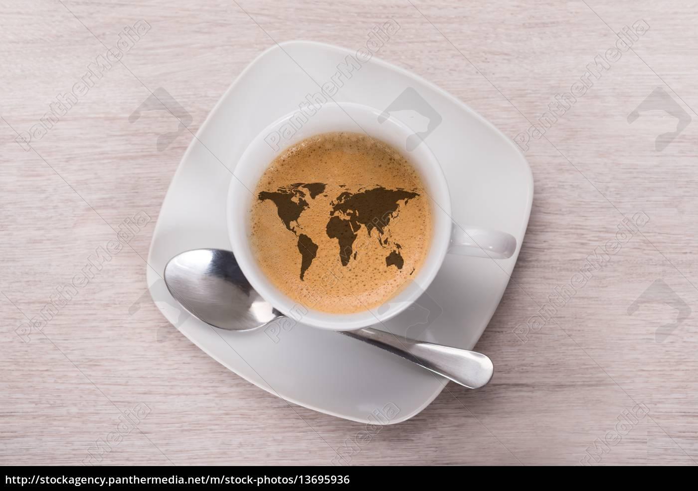 kaffee, mit, weltkarte - 13695936