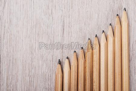 progressive graph made from pencils