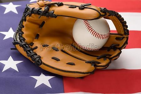baseball glove and ball on usa