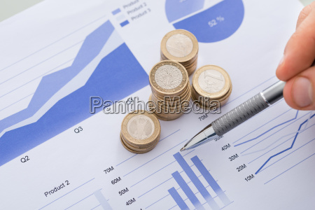 pen with line and coins graphs