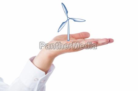 wind turbine steigt in der handflaeche