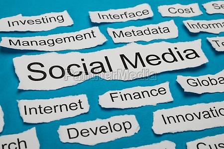 social media text on piece of