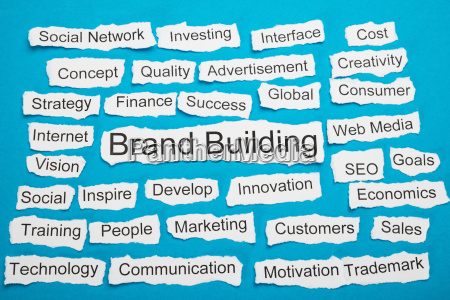 word brand building on piece of