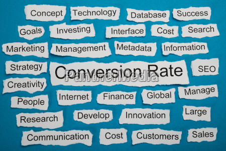 conversion rate text on piece of