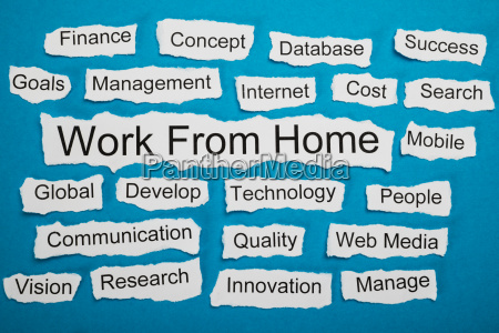 work from home text on piece