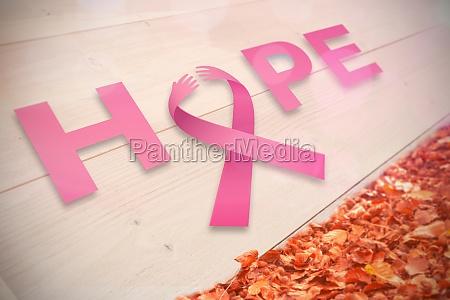 zusammengesetztes bild von brustkrebsbewusstsein botschaft der