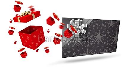 composite bild des fliegens weihnachtsgeschenke