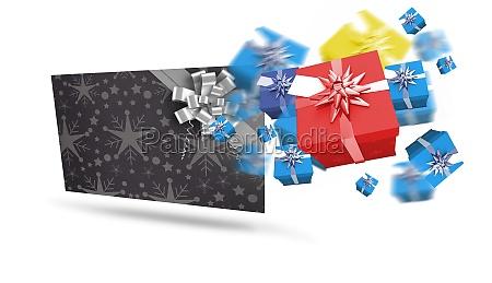 zusammengesetztes bild von fliegenweihnachtsgeschenken