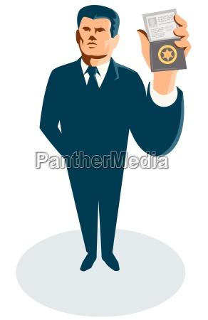 geschaeftsmann secret agent id karten abzeichen
