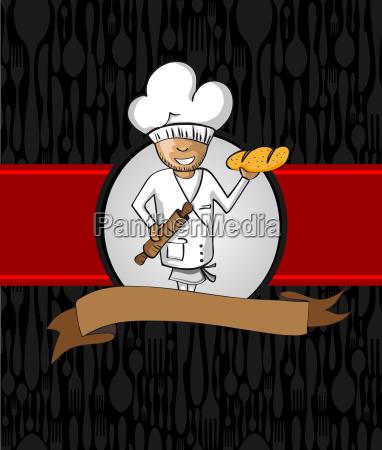baker cartoon menue design