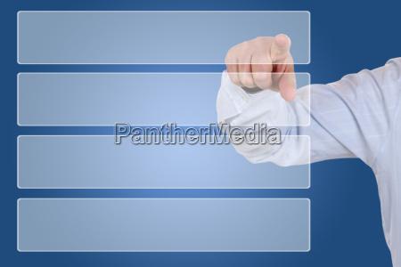 businessman beim zeigen auf auswahl organisation