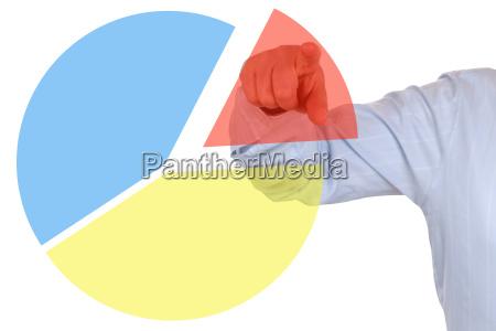 businessman beim zeigen auf ein statistik