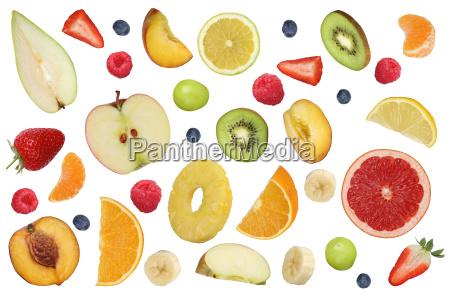 collage of flying fruits like orange