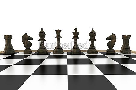 schwarze schachfiguren in einer reihe