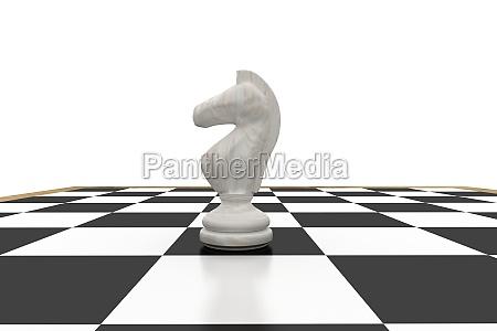 weisser ritter auf schachbrett