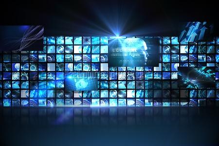 wand der digitalen bildschirme in blau