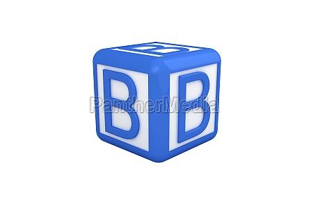 b blauer und weisser block