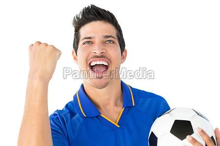 athletic football spieler jubeln