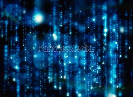 digital erzeugte schwarze und blaue matrix