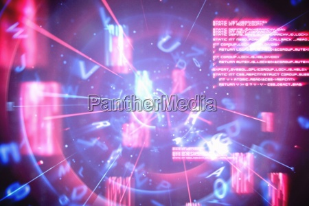 blaue und rote technologieschnittstelle
