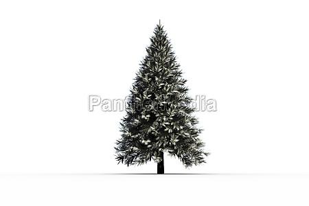digital erzeugter schneebedeckter tannenbaum