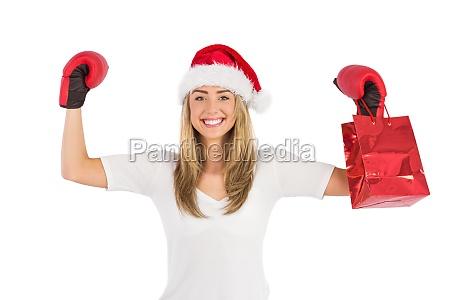 festliches blondes lochen mit boxhandschuhen