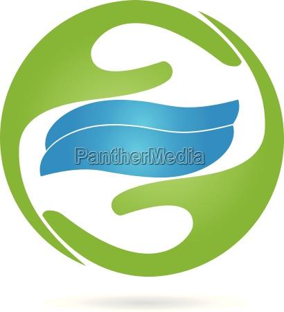 logo hands waves water