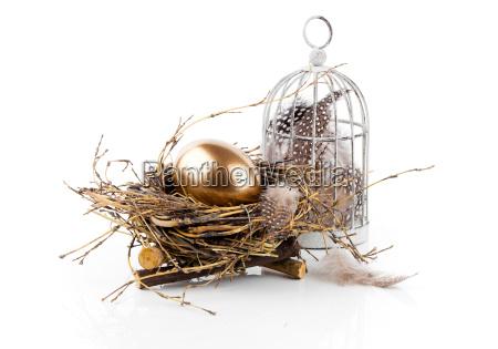 goldene ei im nest auf weissem