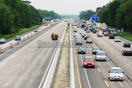 traffic jam on highway construction site
