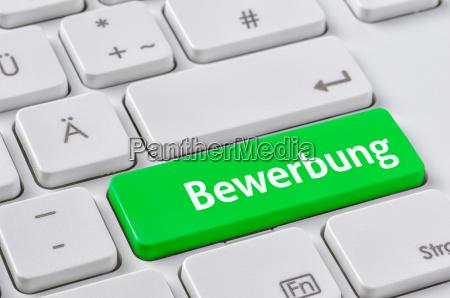 tastatur mit farbiger taste bewerbung