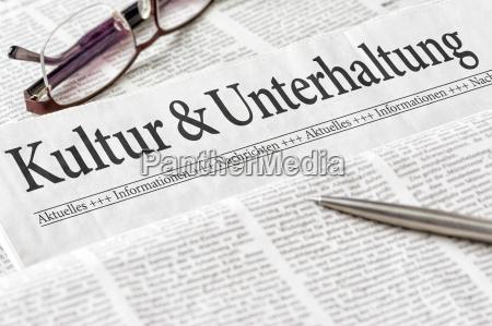 zeitung mit der UEberschrift kultur und