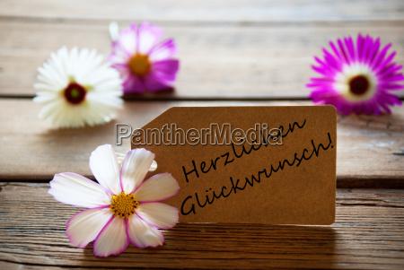 label with german text herzlichen glueckwunsch