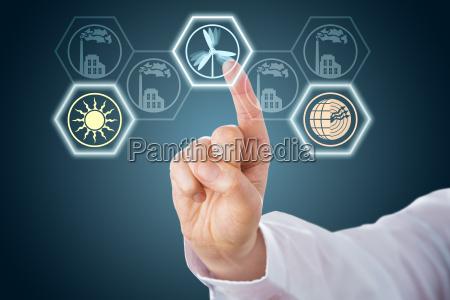 maennliche hand die erneuerbare energie icons