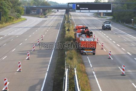 roadworks on 8 lane highway