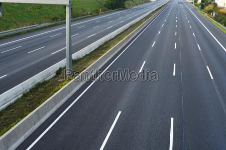 empty eight lane highway swept